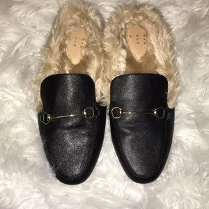 A New Day Furry Black Mules
